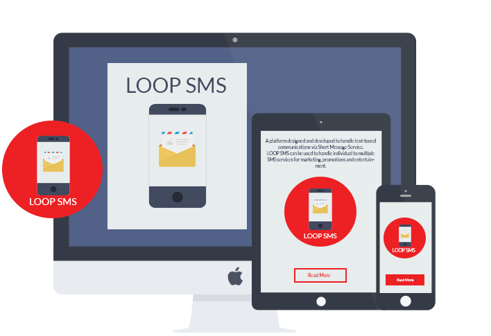 LOOP SMS Chat platform on desktop, mobile and tablet