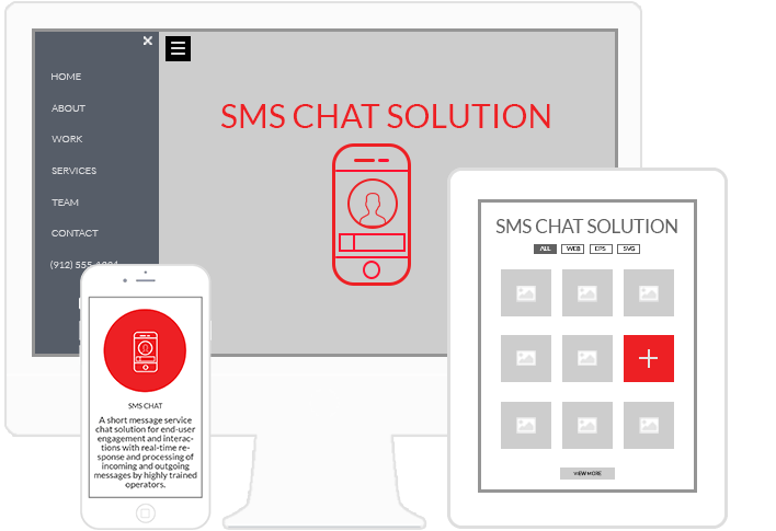 SMS Chat platform on desktop, mobile and tablet
