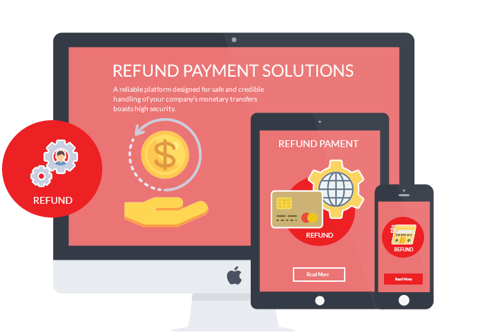 Refund payment platform on desktop, mobile and tablet