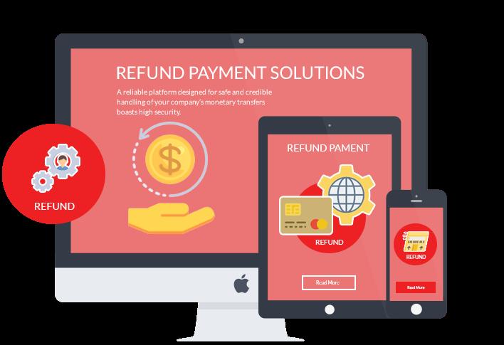 Refund payment platform on desktop, mobile and tablet