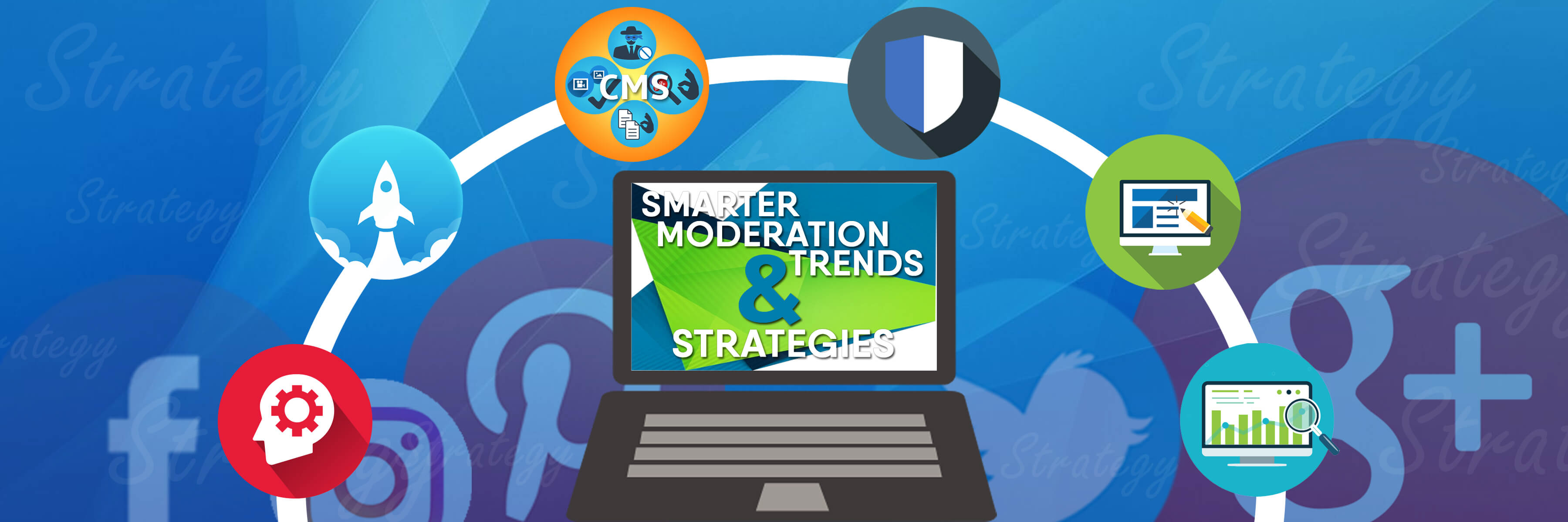 Moderation Trends and Strategies banner with social media icons