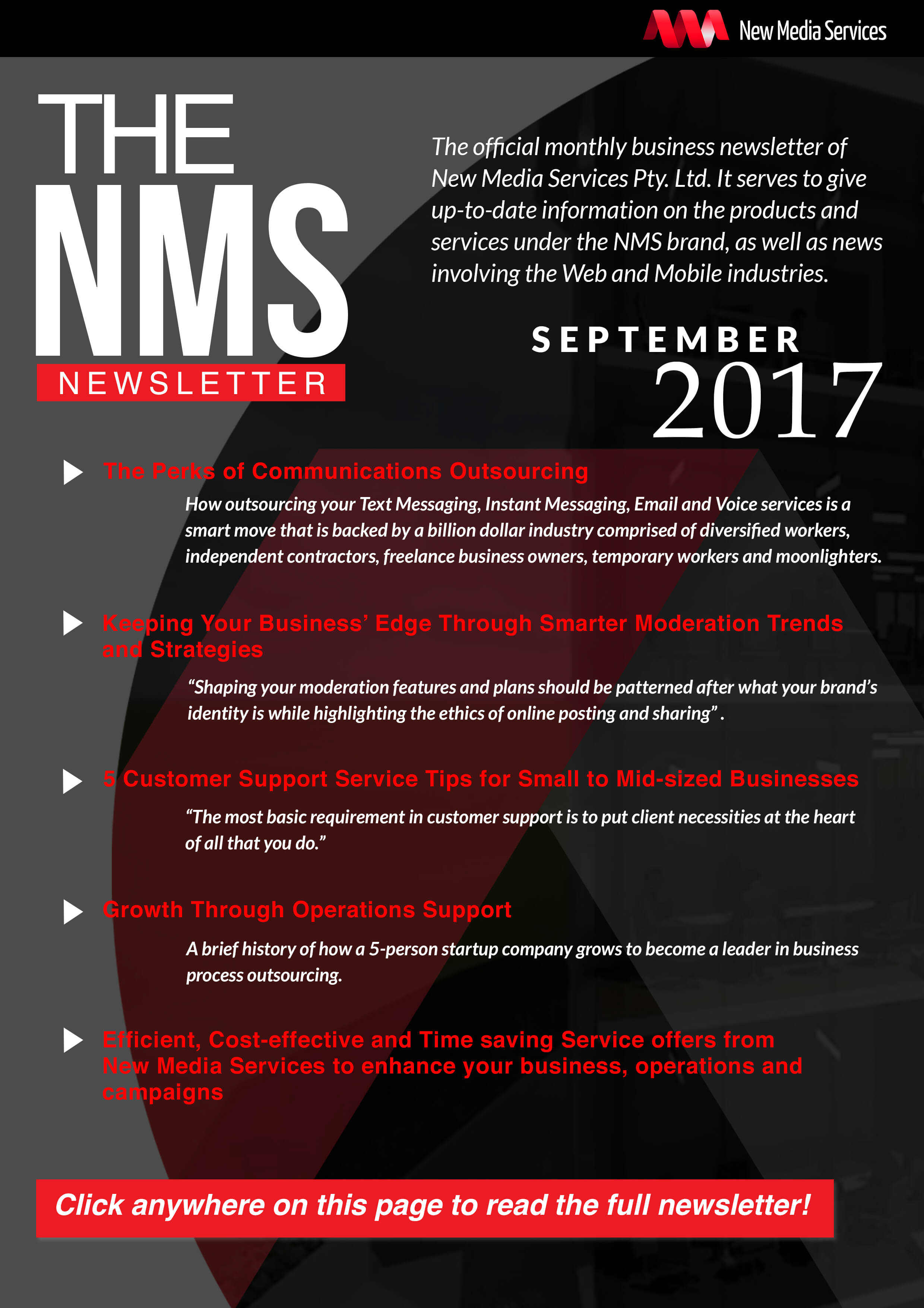NMS Newsletter banner for September 2017