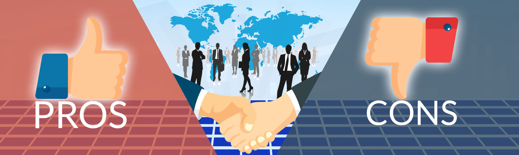 handshake with business man and woman as background
