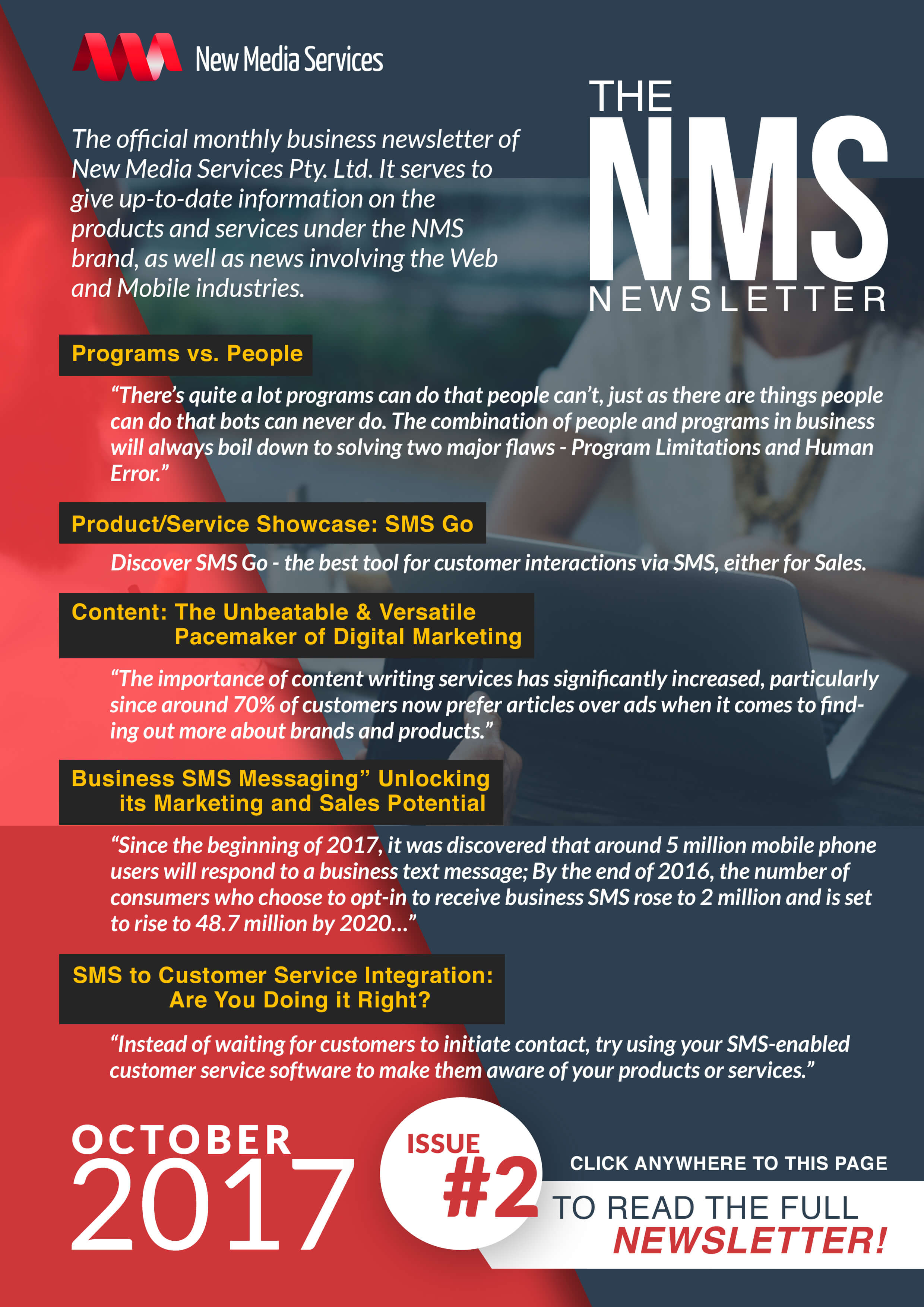 NMS Newsletter banner for October 2017