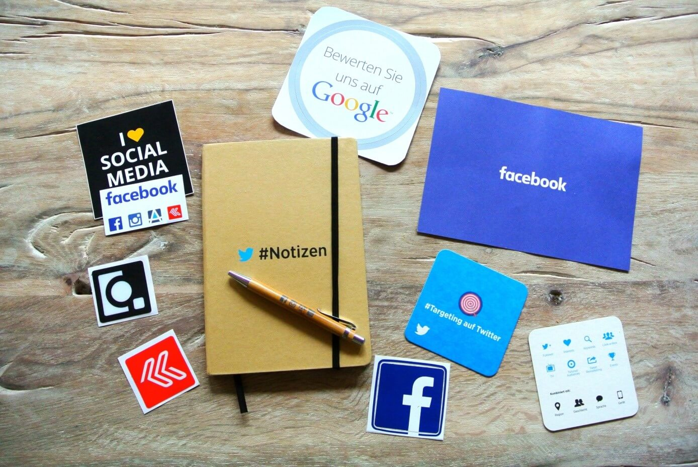 social media icons and logos on a paper