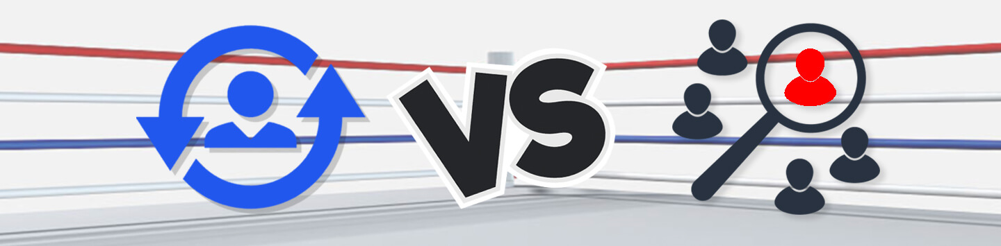 Customer Acquisition icon vs. Customer Retention icon in a boxing ring