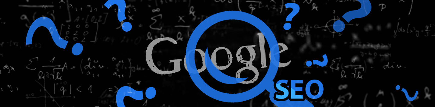 Google and SEO letters surrounded by question marks