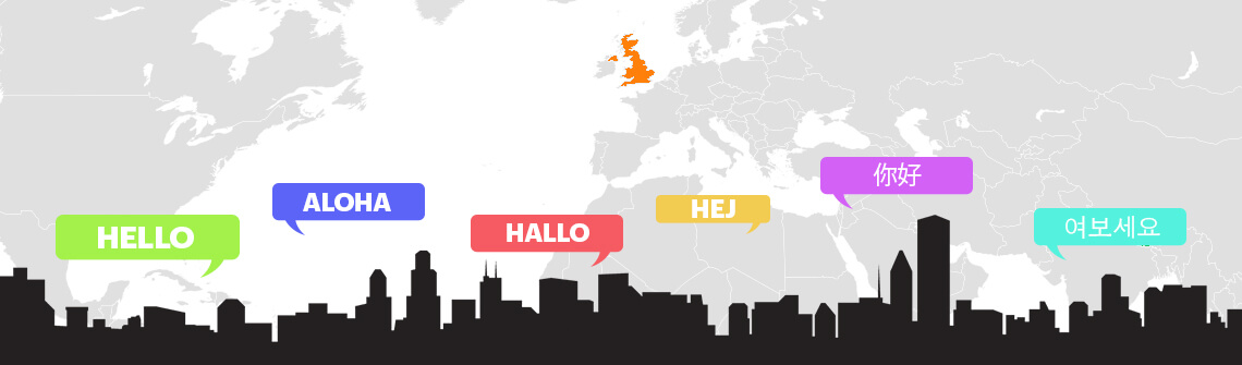 World geography with different language translation of hello word