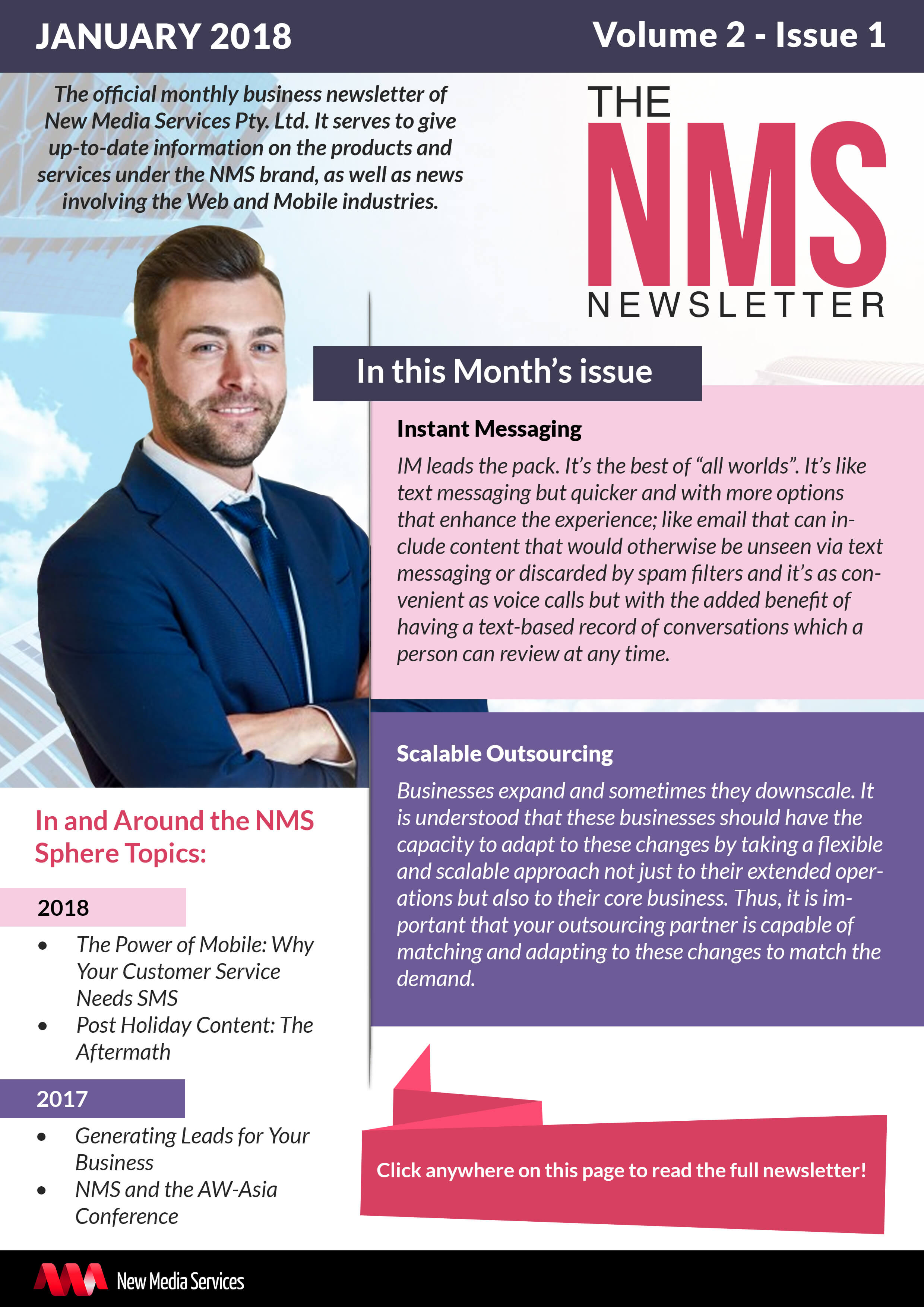 NMS Newsletter banner for January 2018