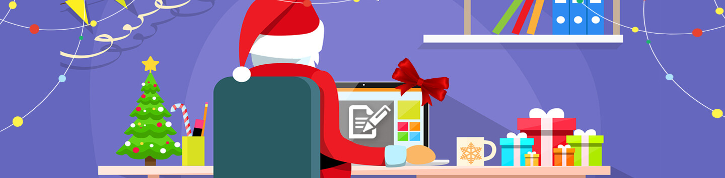 Santa claus using a laptop