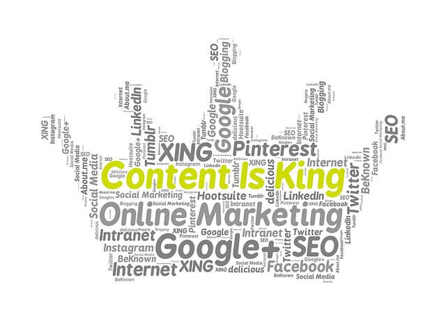 content is king written in a crown shape text