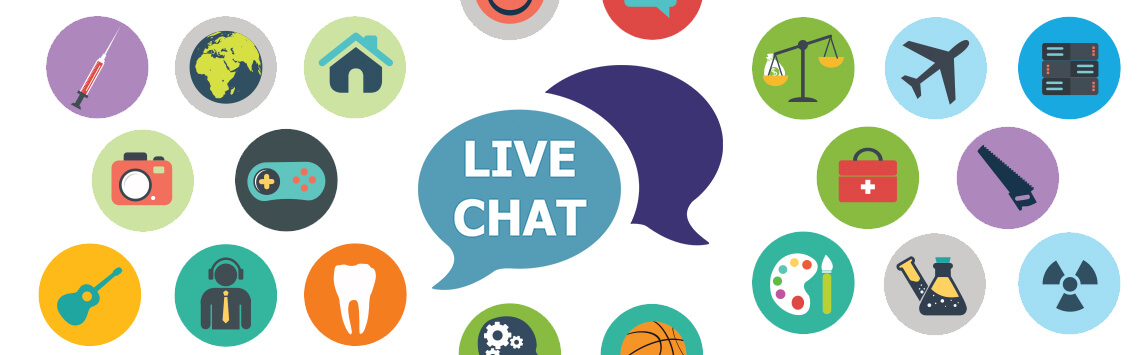 live chat and different industry icons