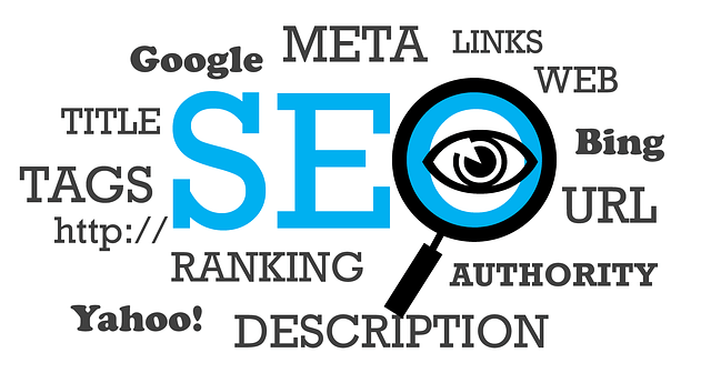 SEO word with magnifying glass and an eye
