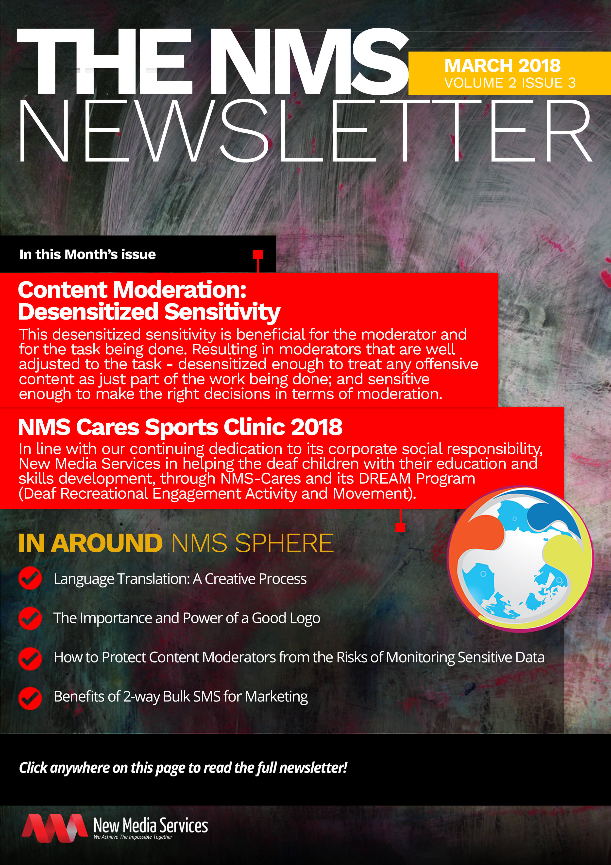NMS Newsletter banner for March 2018