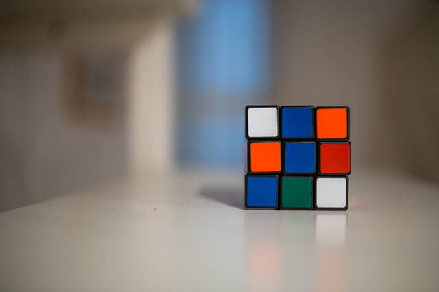 rubix cube on a table
