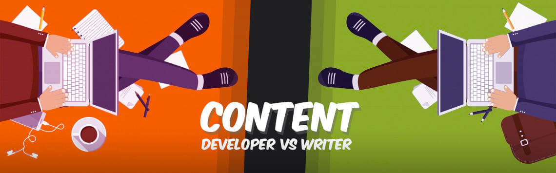 Content Writer and Content Developer facing each other