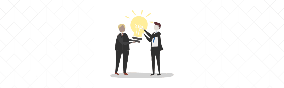 two online community moderators holding a bulb