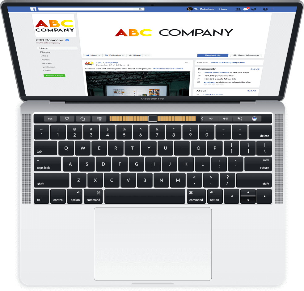 Facebook page on macbook