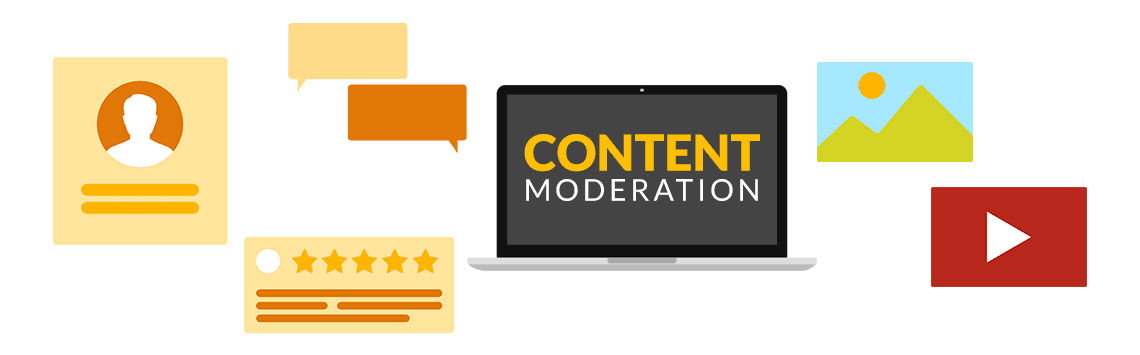 Content moderation text on a laptop