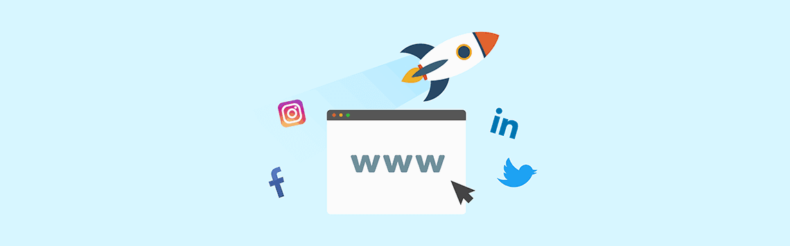 webpage with a rocket and social media icon