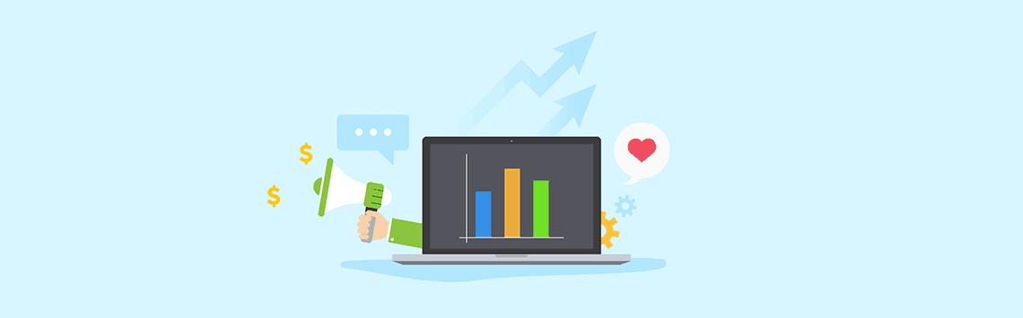 social media marketing graph on a laptop
