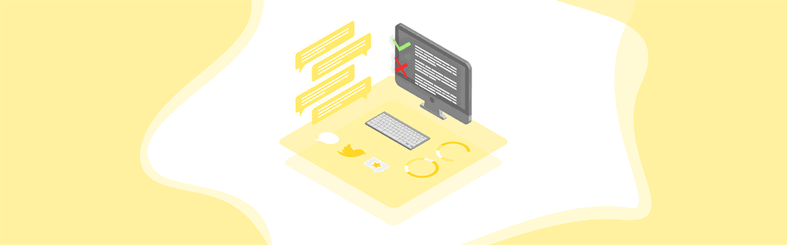 text moderations process on a monitor
